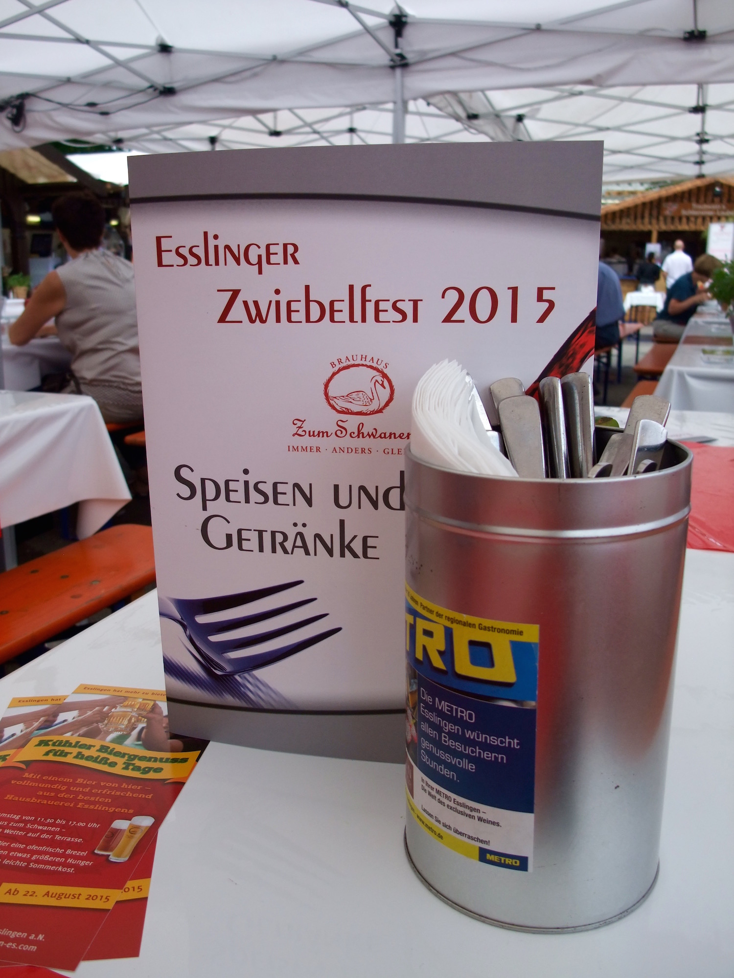 Sitting down for some food at the  Esslinger Zwiebelfest