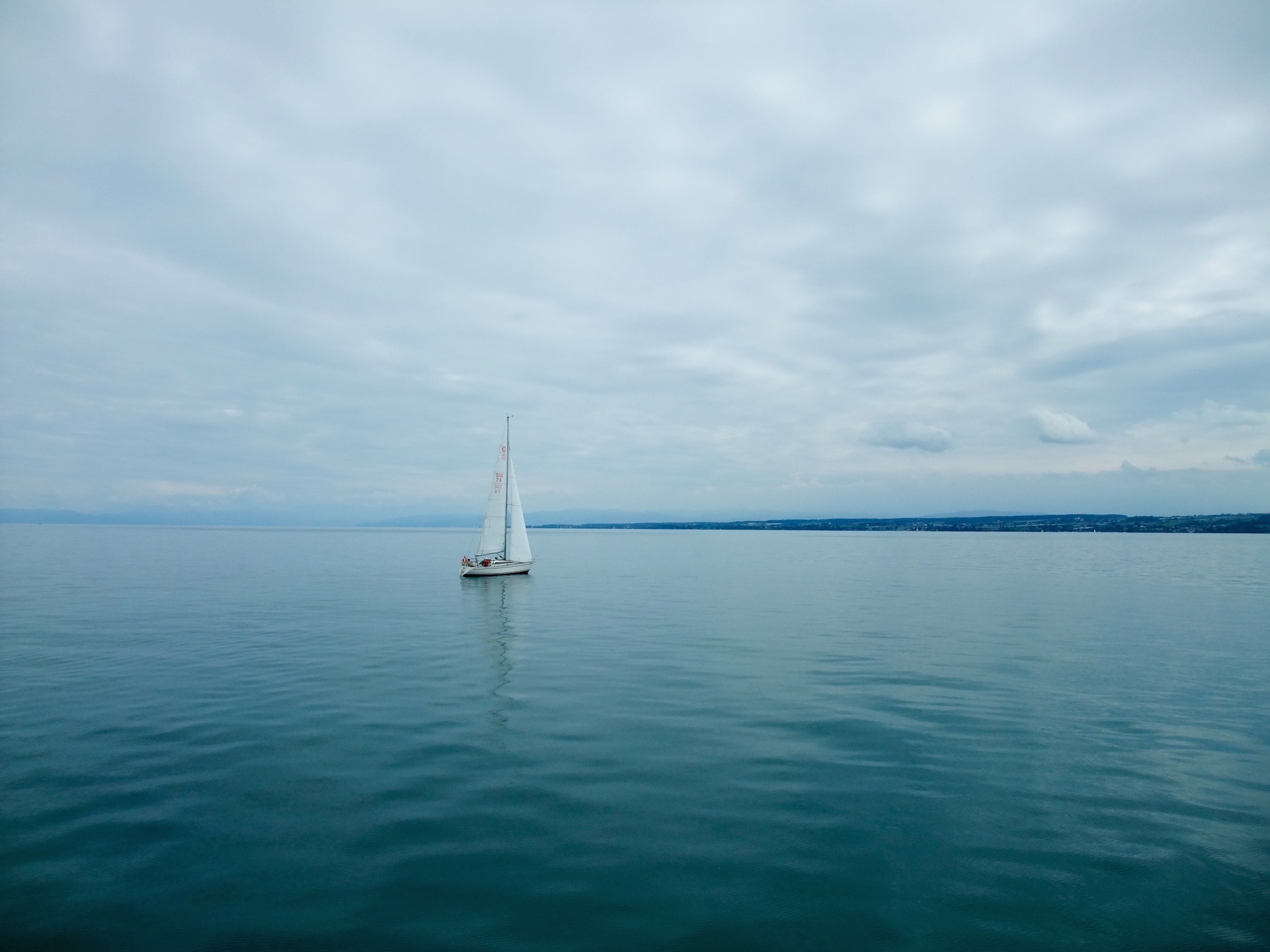 The  Bodensee with a view of the Swiss Alps in the background
