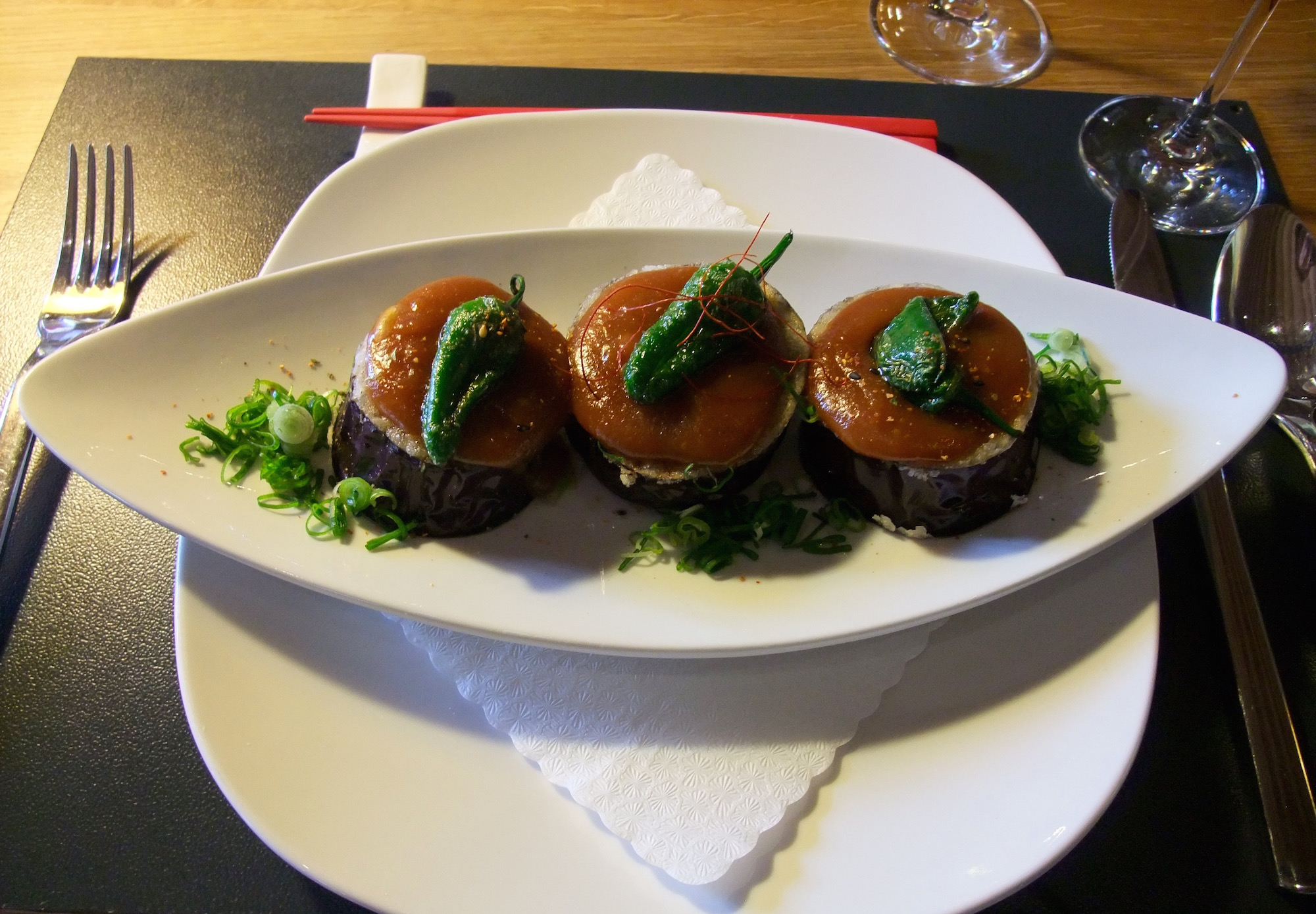 Eggplant with miso paste and peppers appetizer