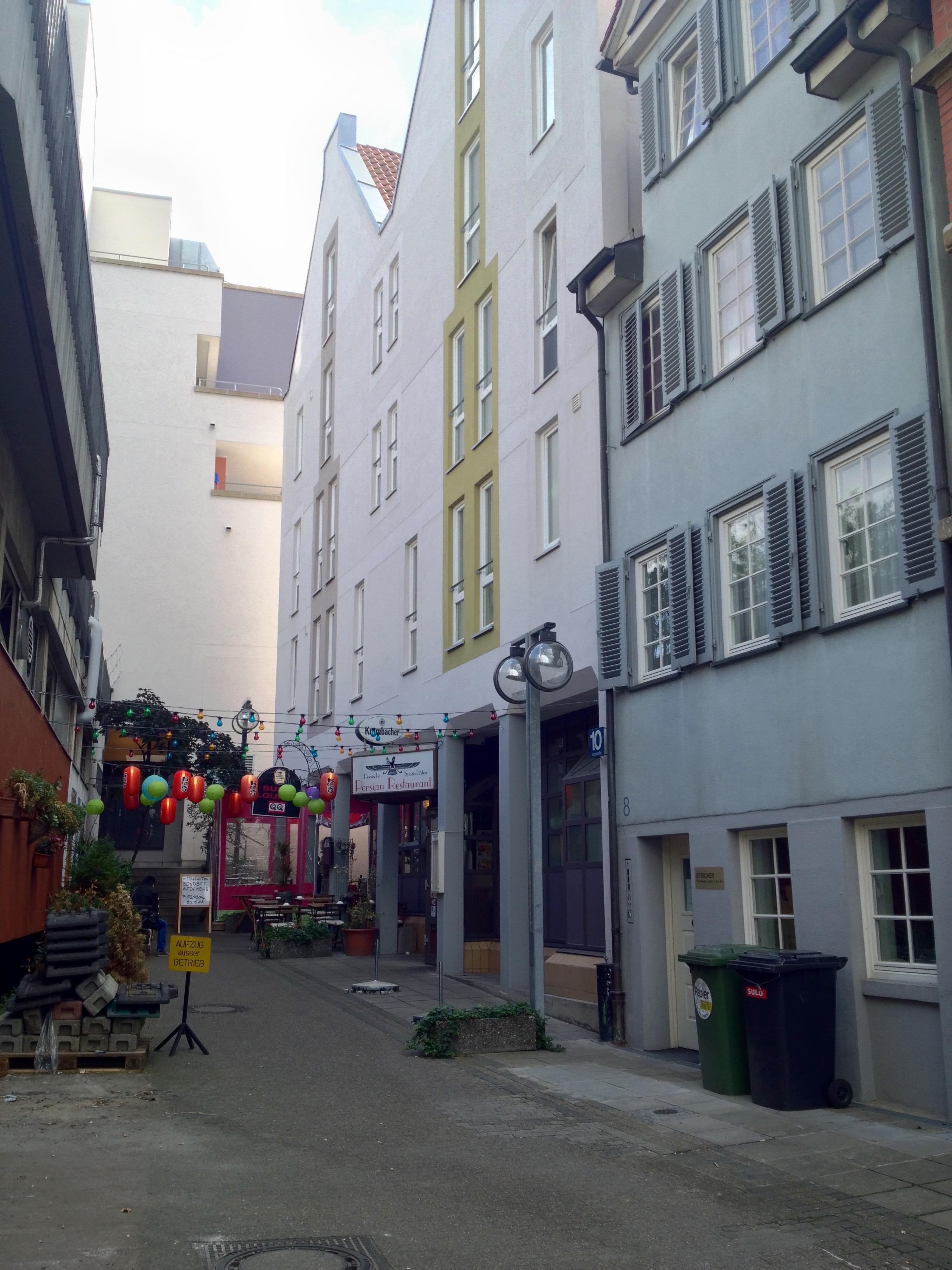 The Persian Restaurant's nondescript location on  Kanalstraße