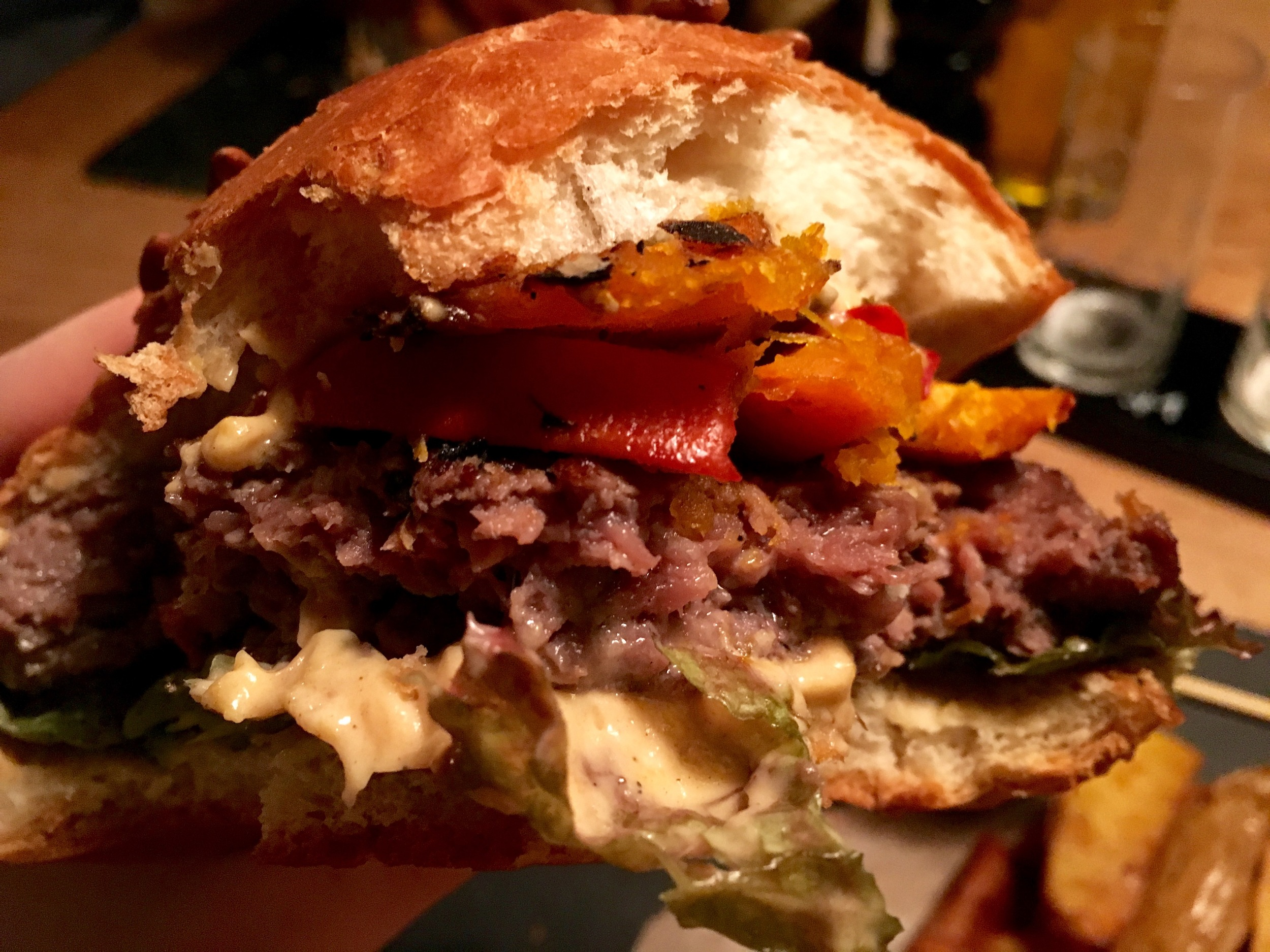 An inside shot of my Pumpkin Burger