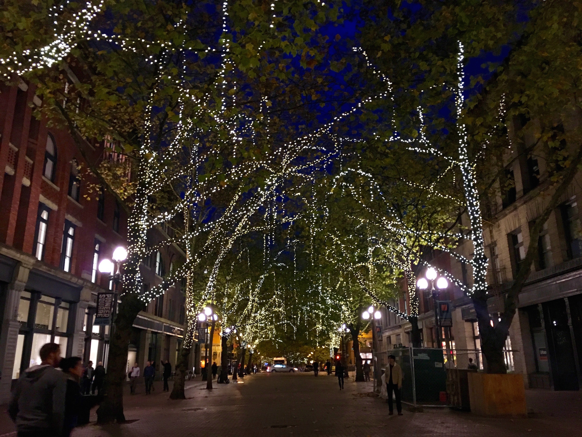 Pioneer Square at night