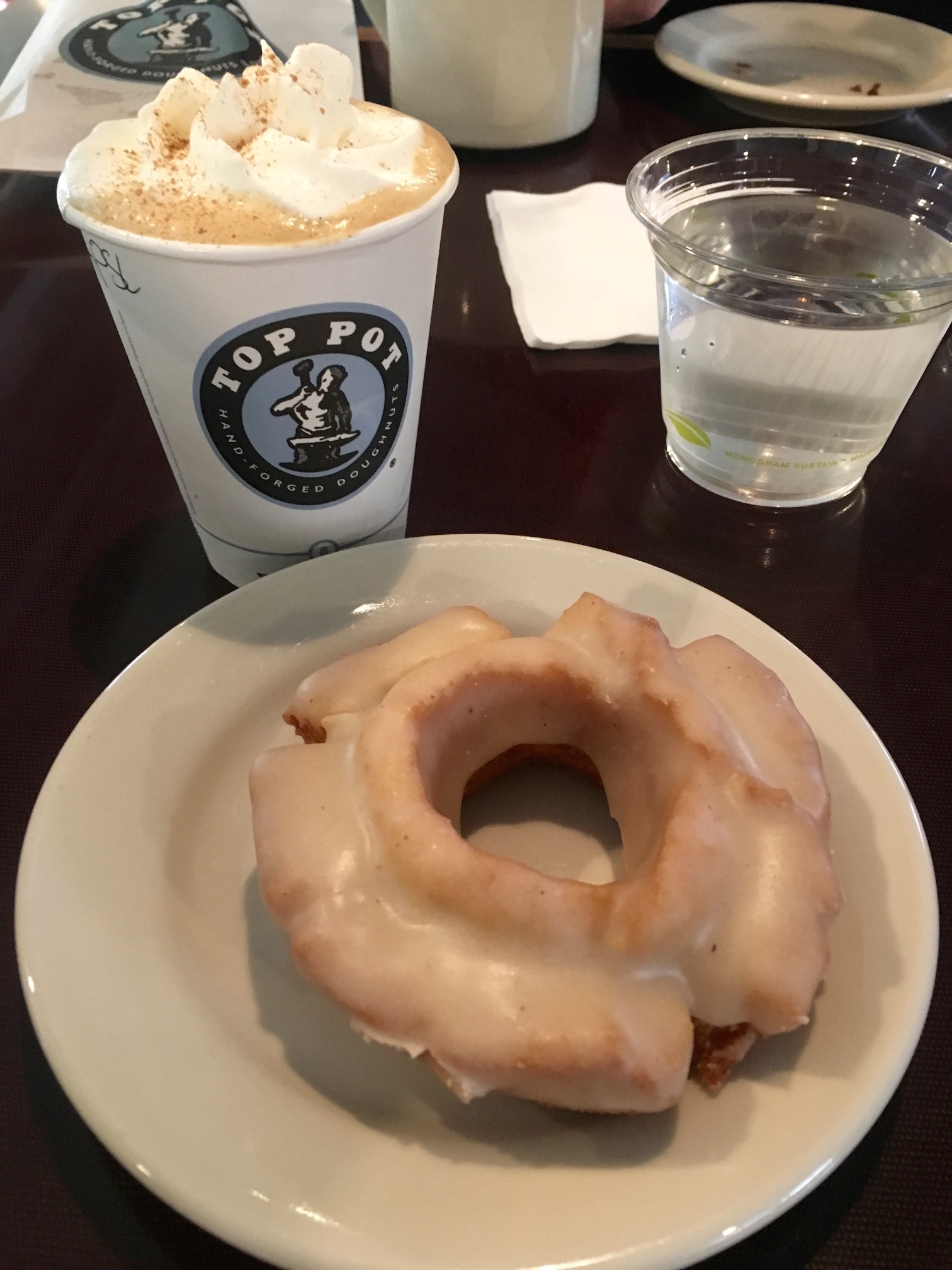 Pumpkin spice latte and a glazed pumpkin old-fashioned doughnut at Top Pot