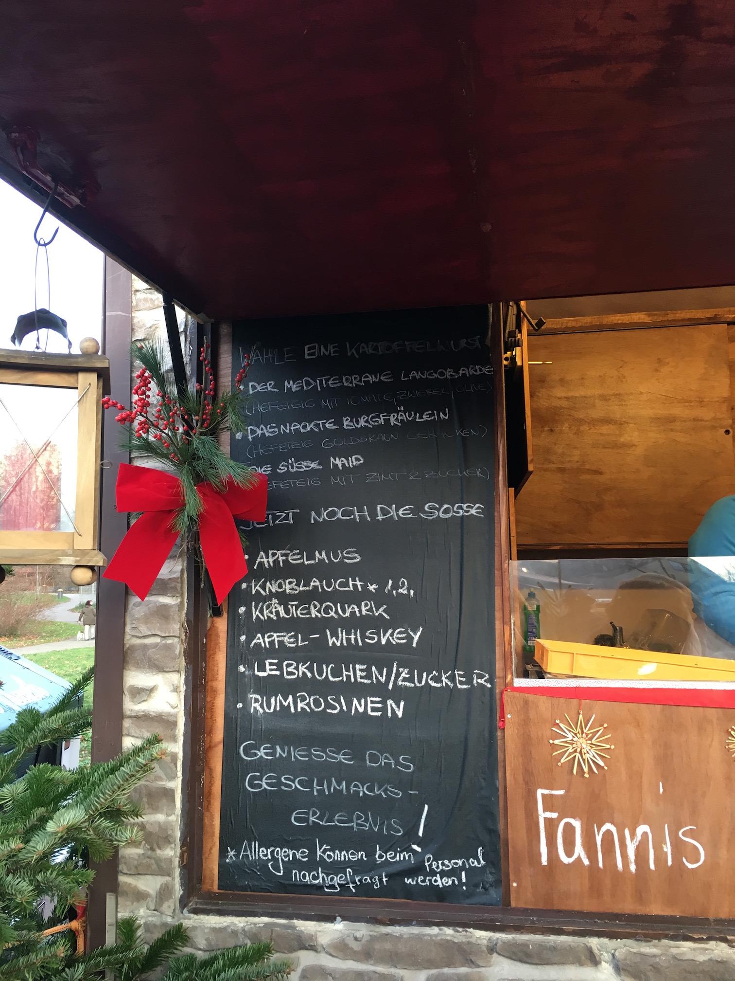 The menu at  Fanni's Kartoffelschmiede