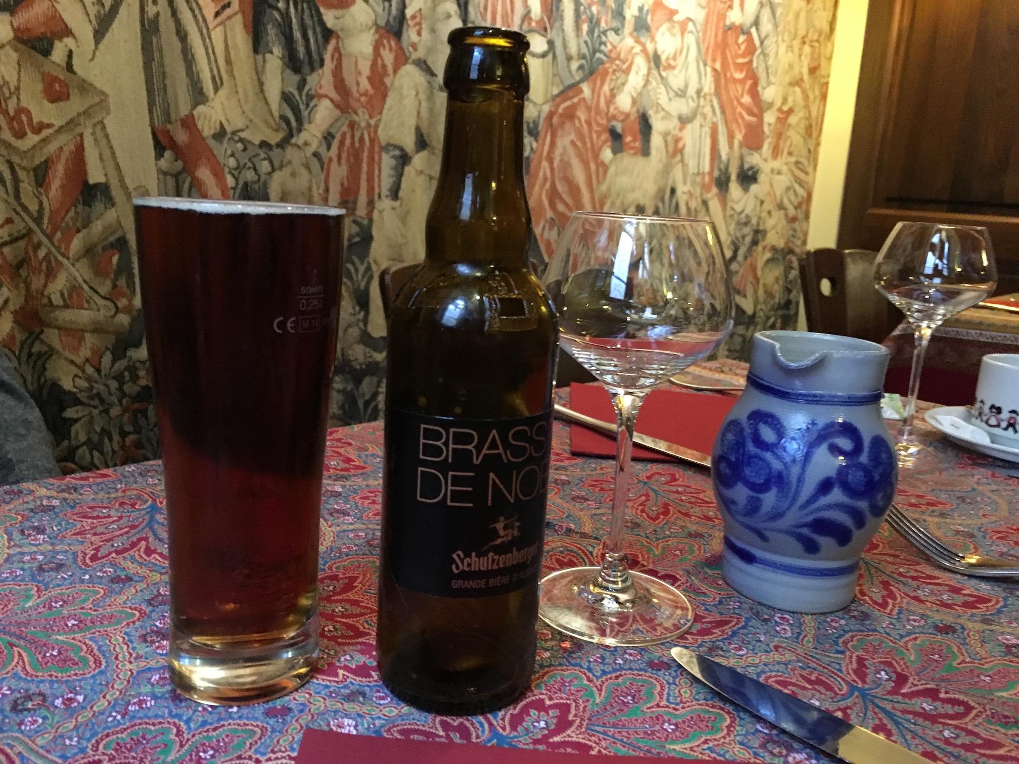 Matt's Christmas beer and my  pichet of white wine at  Chez Yvonne