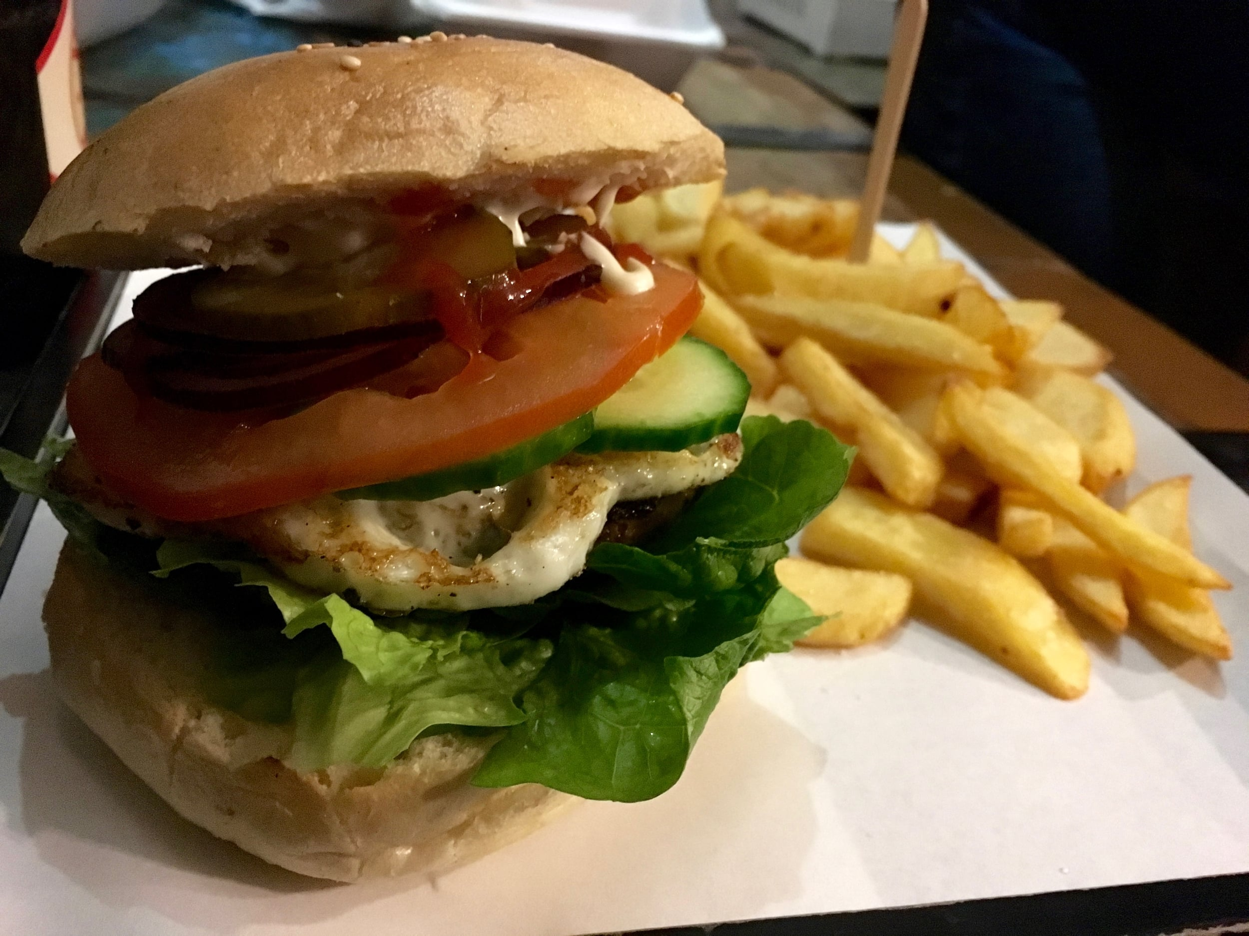 The Egg Burger with fries