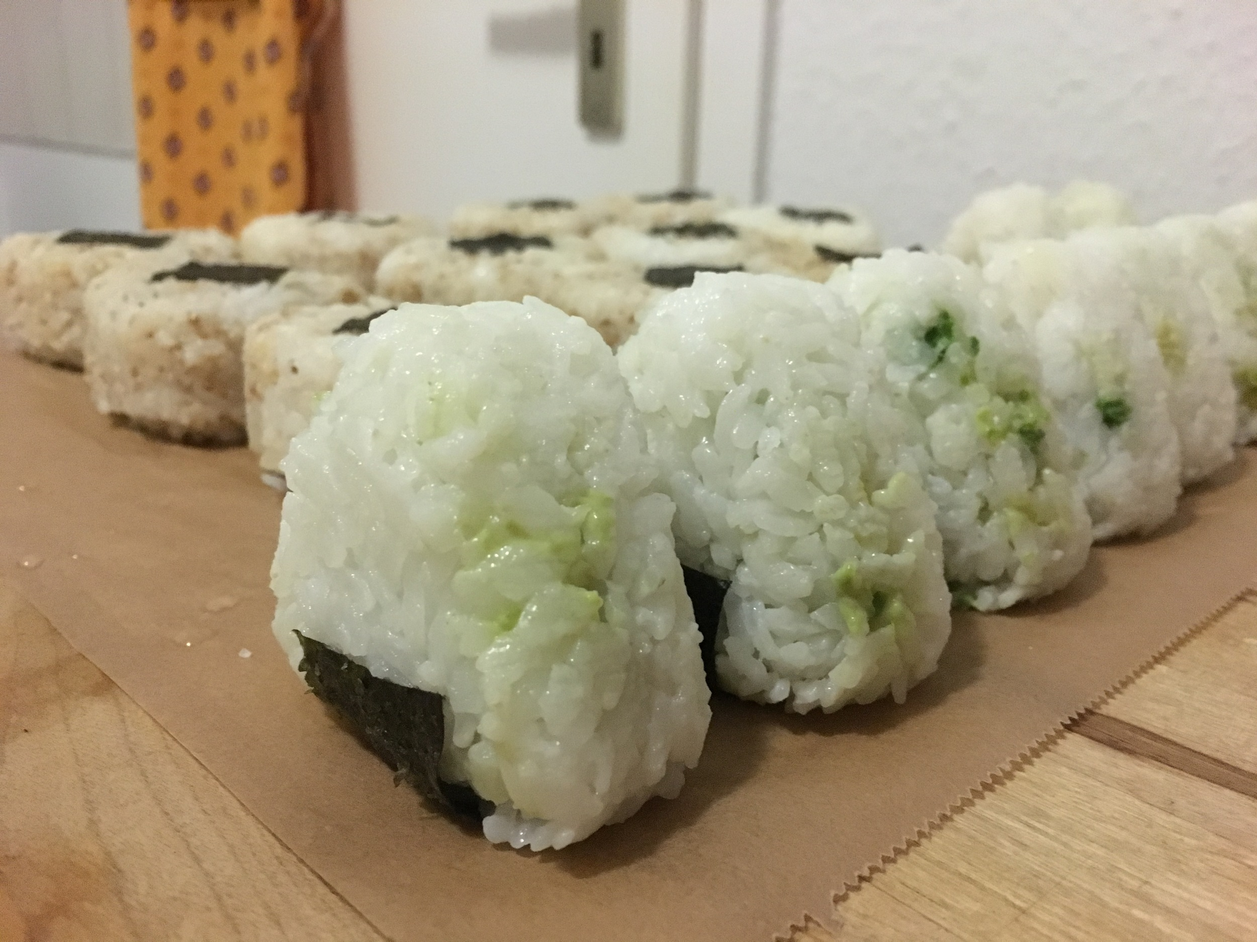 My tuna (in the back) and avocado  onigiri