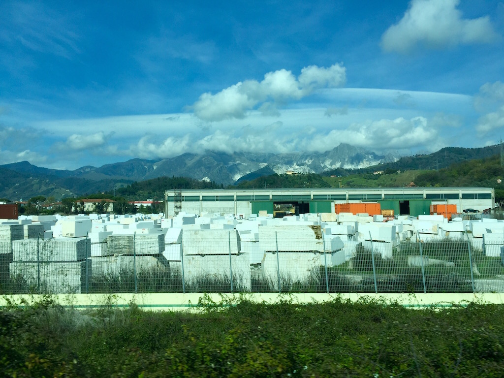 The marble quarries on the train to Pisa