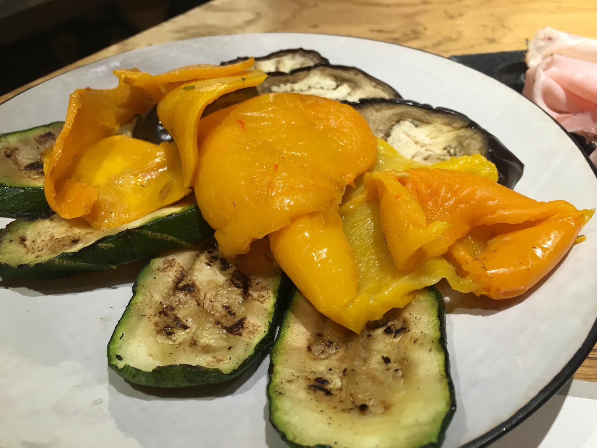 The grilled vegetable platter