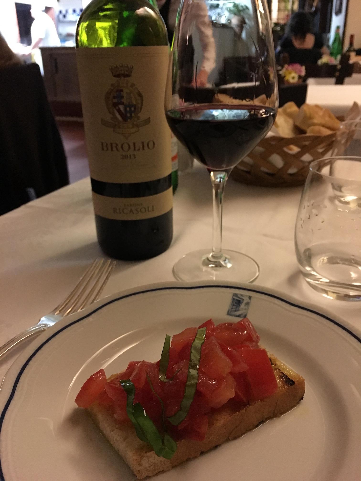 Chianti  and  bruschetta
