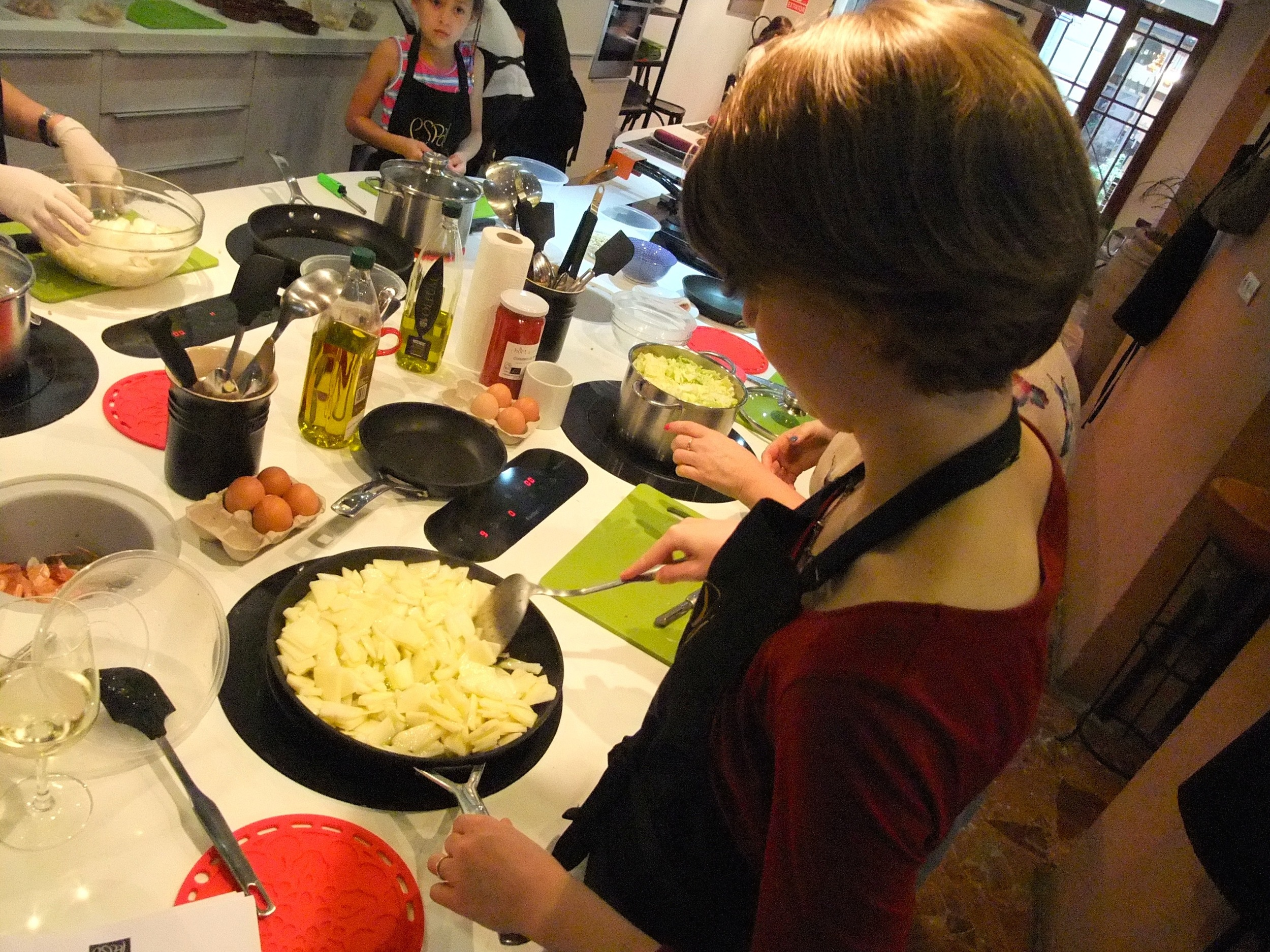 Me making  tortilla  at our cooking class in Barcelona