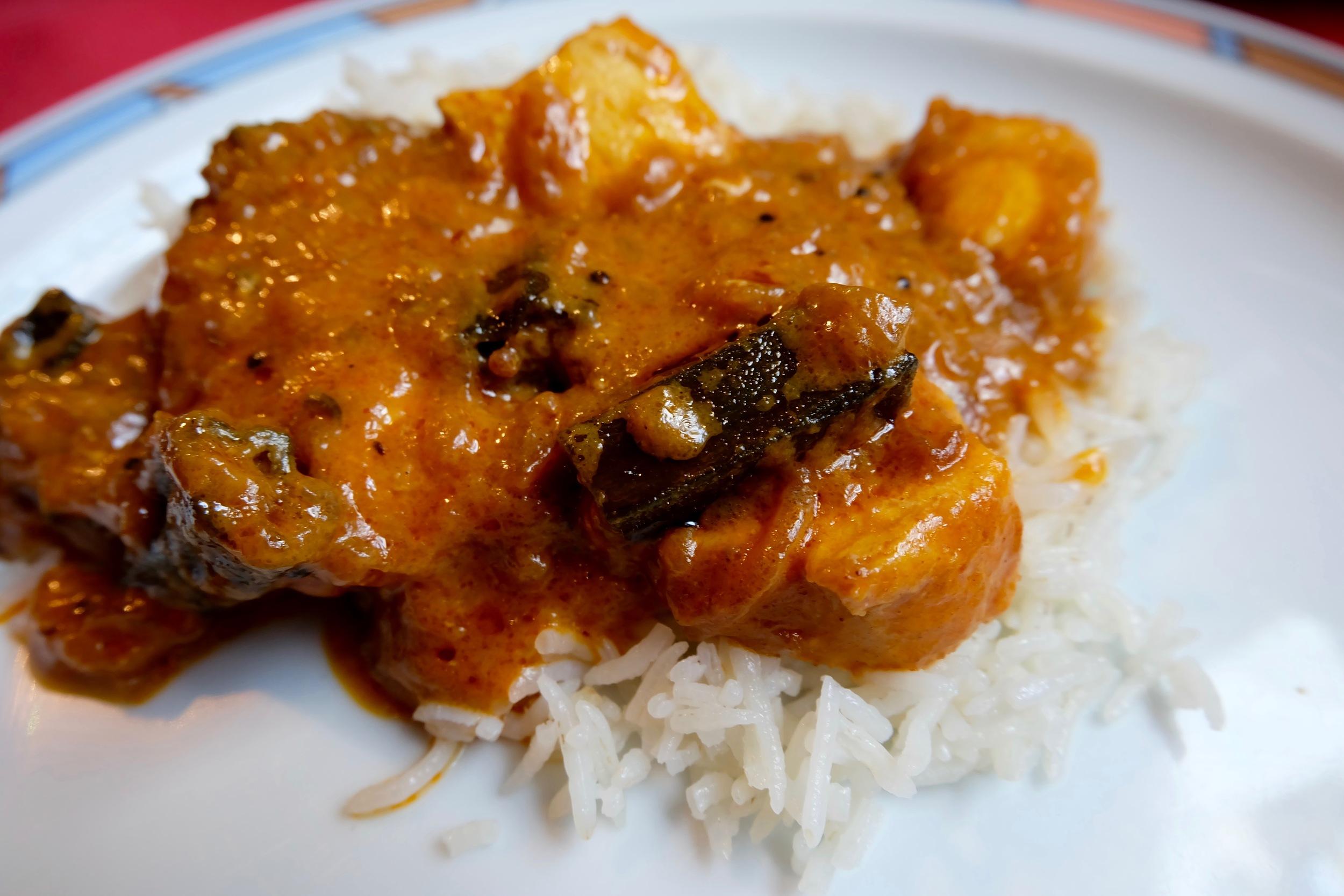A close up of my  Chicken Bhindi on rice