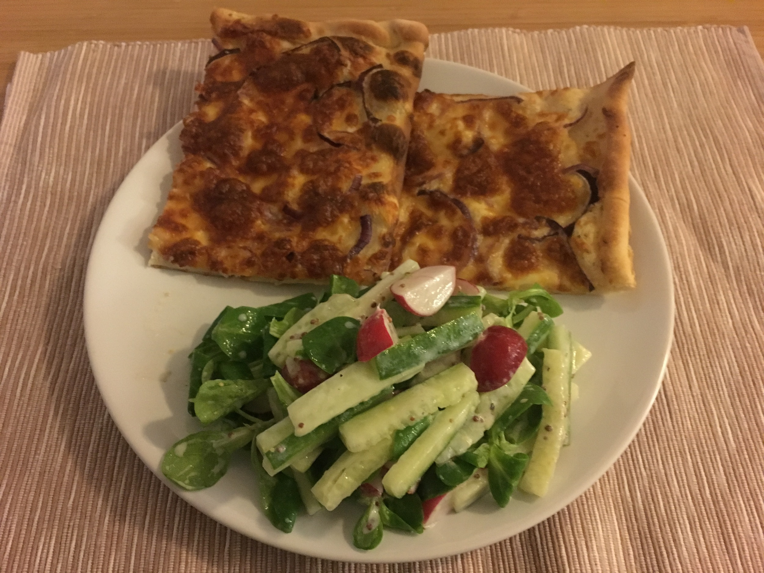 Flammkuchen with Red Onions
