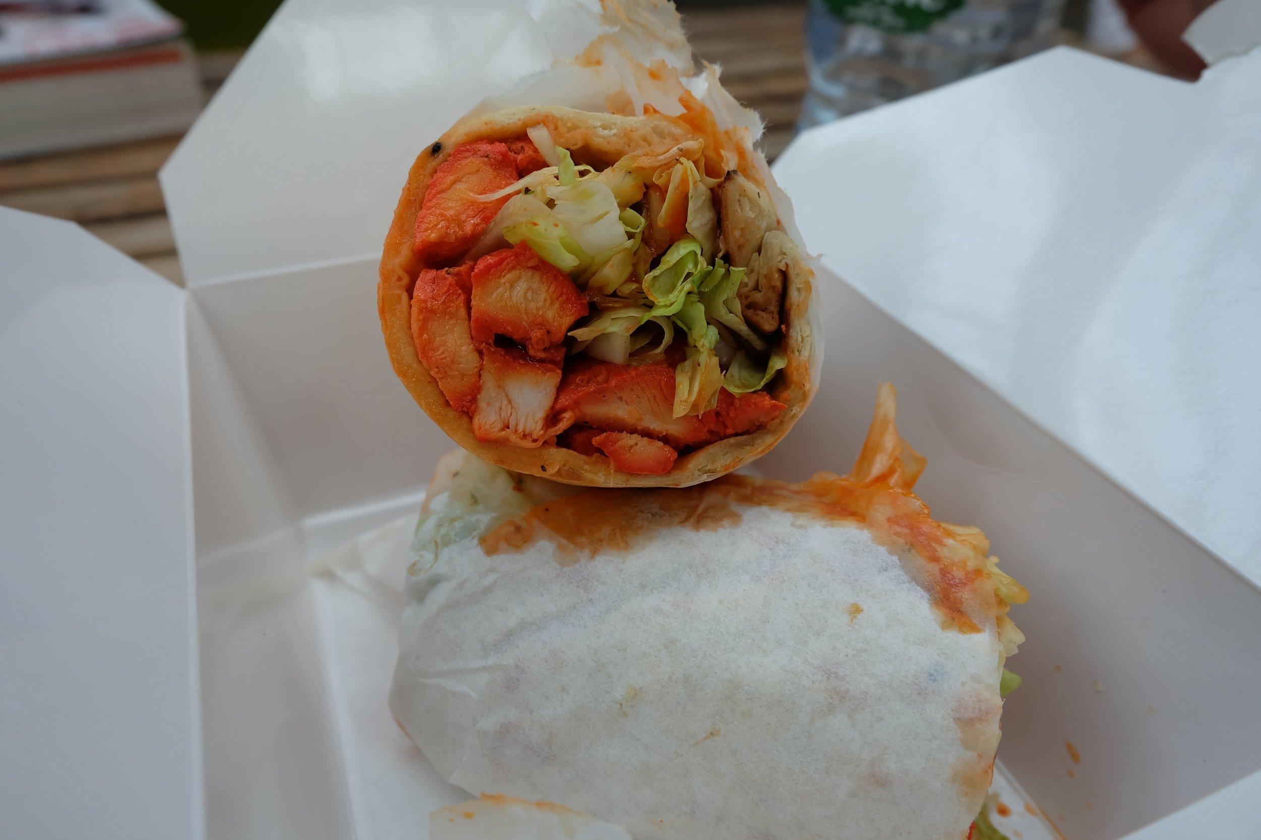 Chicken tikka wrap from Indi-Go