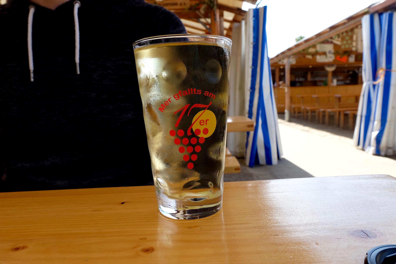 A 1/2 liter of wine in a  Dubbeglas