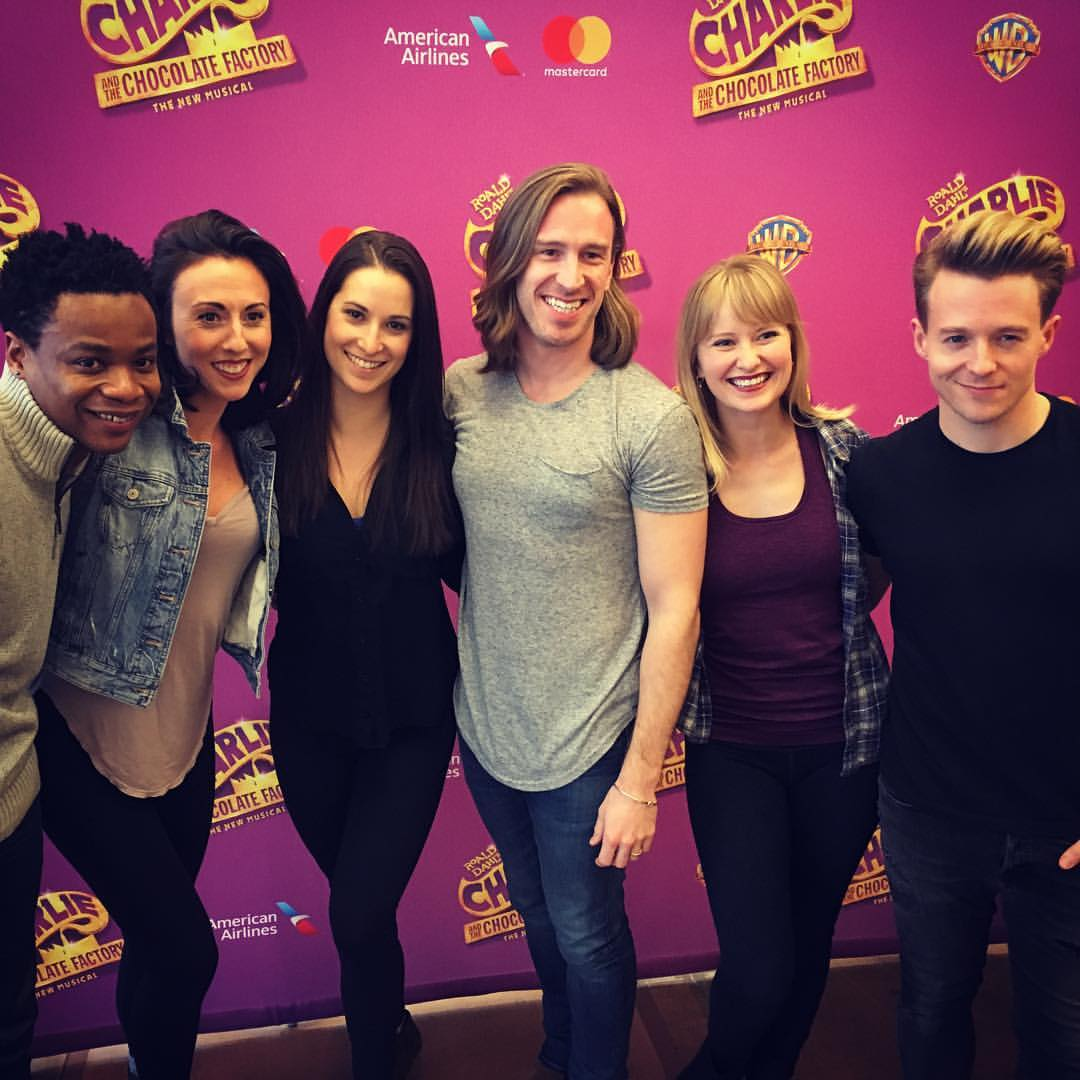 Stephen Carrasco and the swings of Broadway's  Charlie and the Chocolate Factory: Michael Williams, Kristin Piro, Robin Masella, Amy Wuanbeck and Mikey Winslow