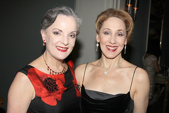 Joanna Glushak (on right, with Jennifer Smith) at the Broadway opening of  A Gentleman's Guide to Love and Murder