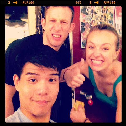 2012: My first Instagram post - ever - in the dressing rooms of Circle. These two clowns talked me into it!