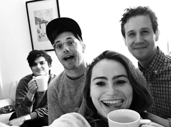 Alex Boniello (left, with Andy Mientus, Kathryn Gallagher and Alex Wyse) the morning of the 2016 Tony Award nominations.