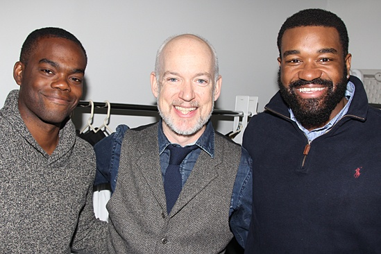 Christopher Gurr (center, with William Jackson Harper and Eric Lenox Abrams) at the meet and greet for  All The Way.
