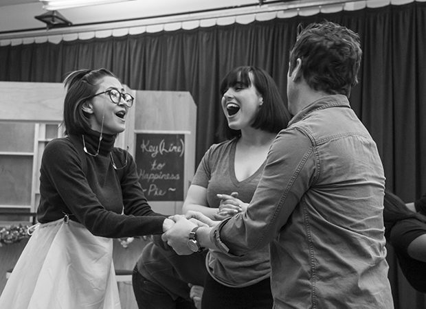 Molly Hager (center, with Kimiko Glenn and Christopher Fitzgerald)