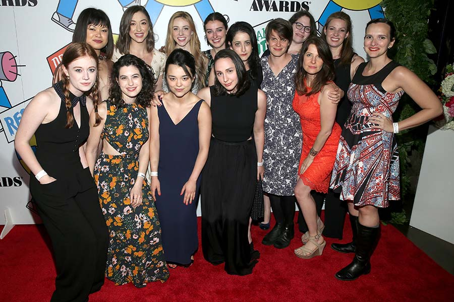 The off-Broadway company of  The Wolves  at the 2017 Obie Awards