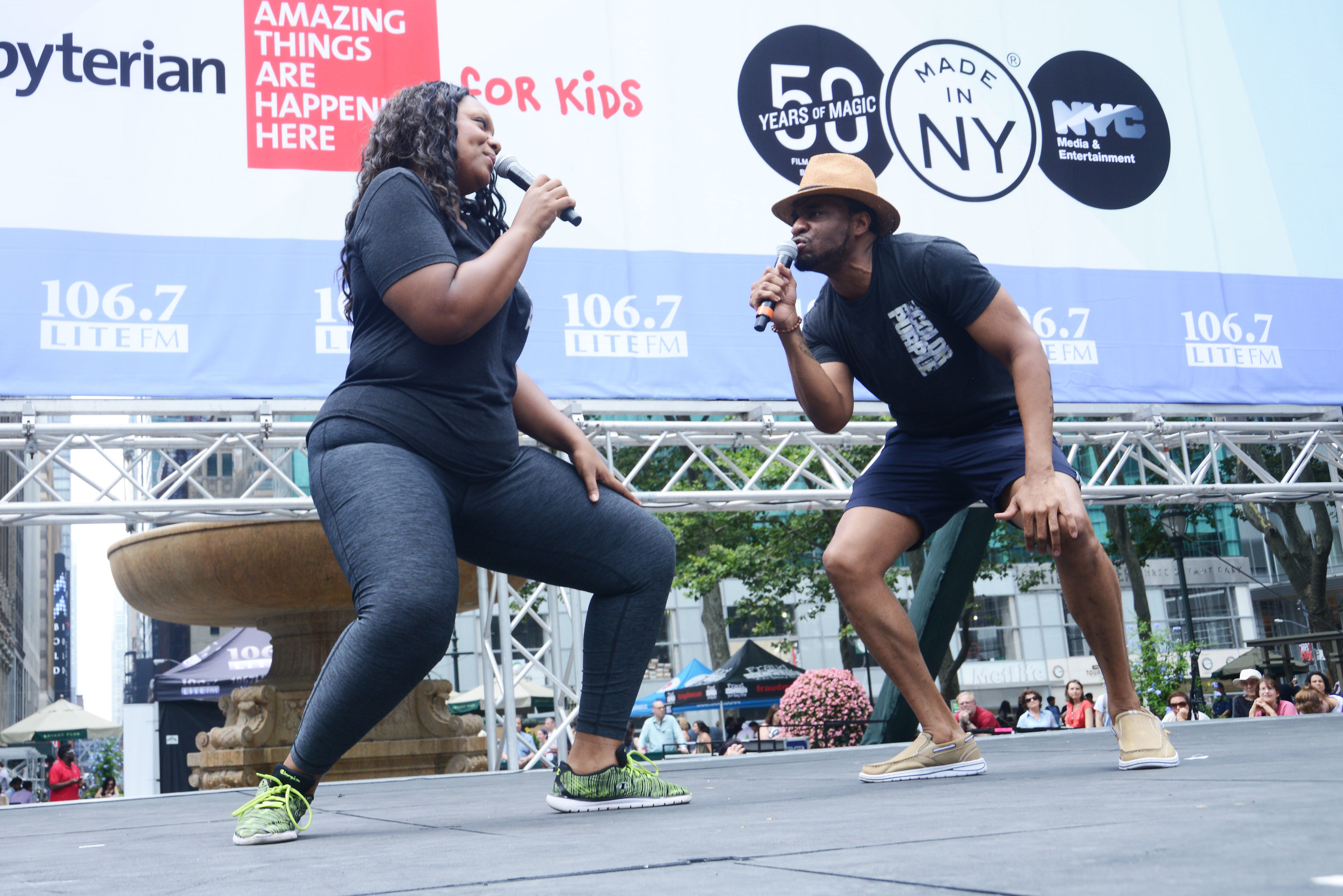 Antonie L. Smith (right, with Carrie Compere) performing at Bryant Park