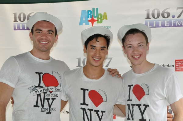 Cory Lingner (right, with Max Clayton and Michael Rosen) performing with  On The Town  at Bryant Park