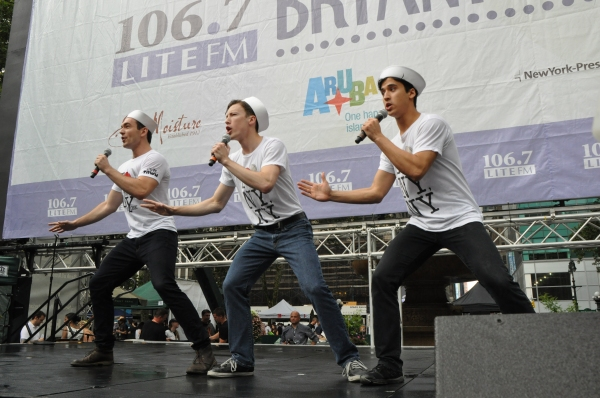 Cory Lingner (center, with Max Clayton and Michael Rosen) performing with  On The Town at Bryant Park