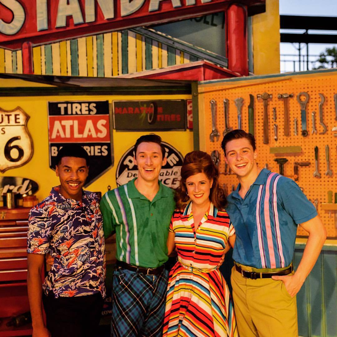 Drew Redington (second from left) with  All Shook Up  cast mates
