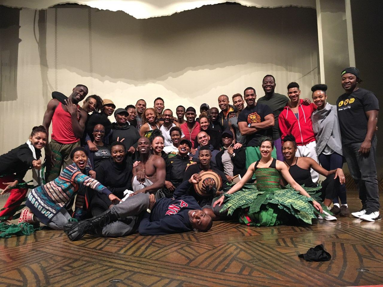 The Broadway cast of  The Lion King