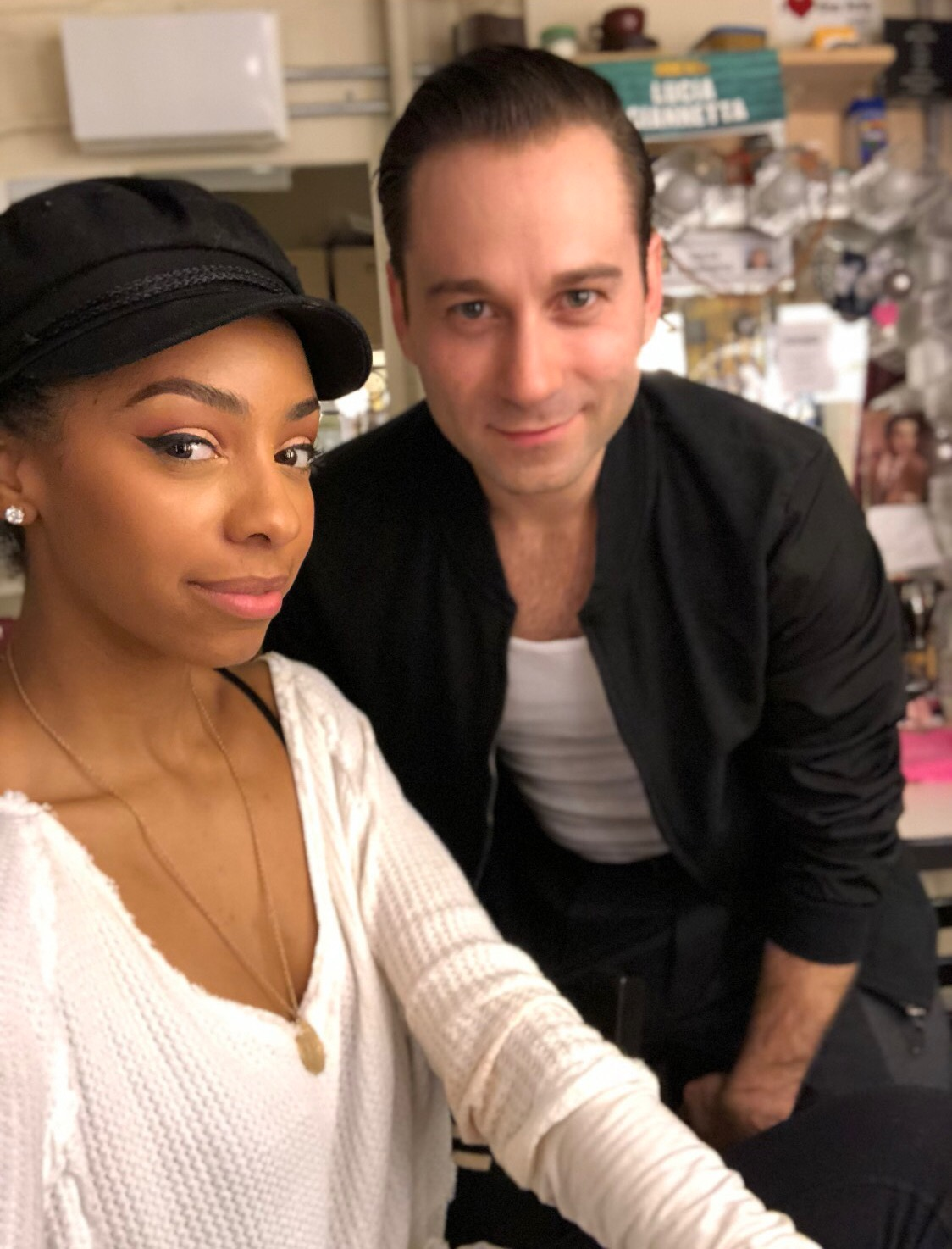 Christiani Pitts and Michael Fatica backstage at  A Bronx Tale