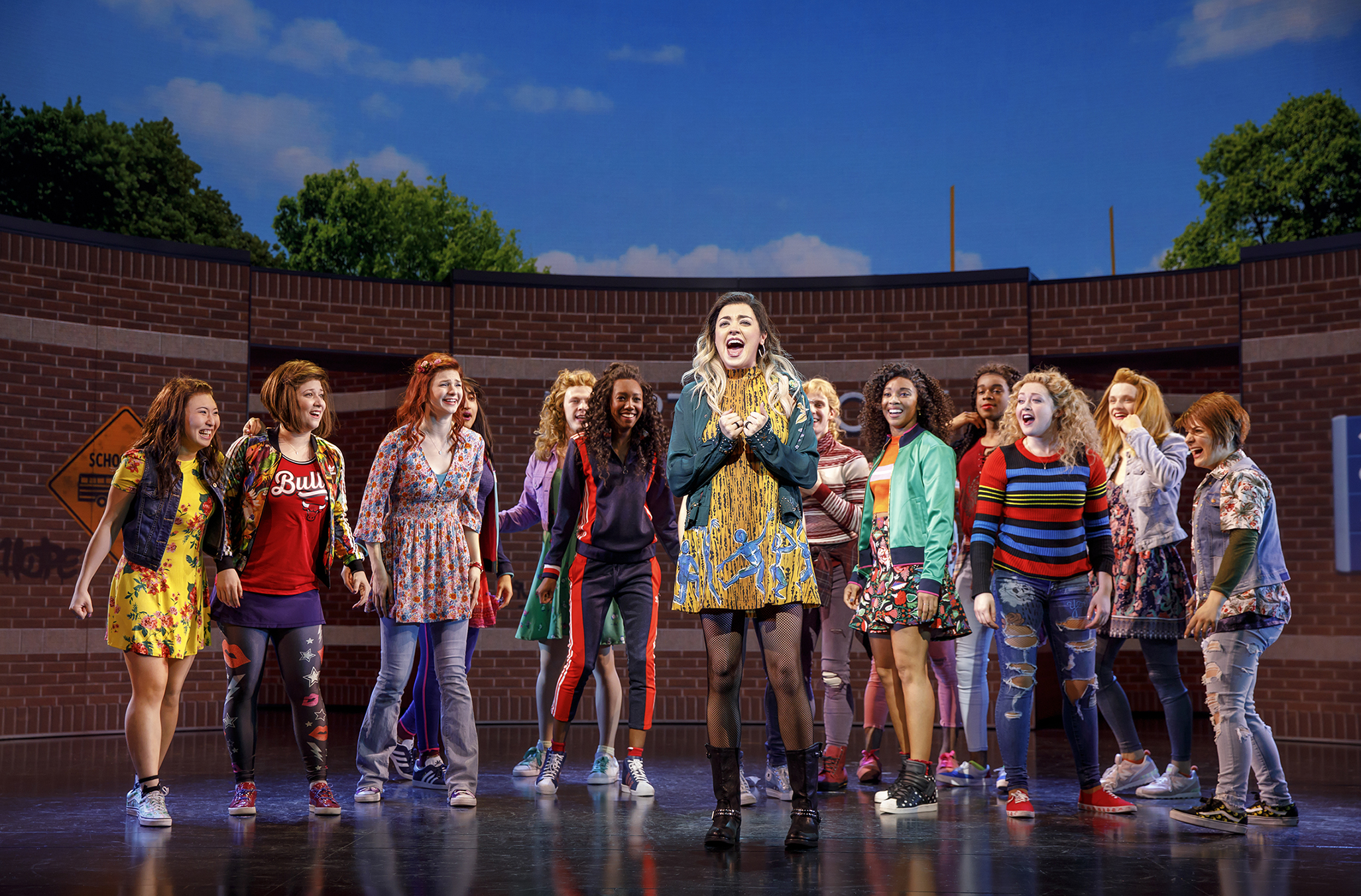 Barrett Wilbert Weed (Janis Sarkisian) and the Company of Mean Girls Credit: © 2018 Joan Marcus