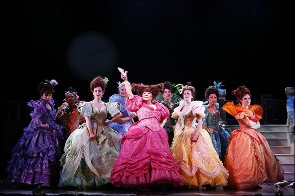 Linda Mugleston (third from left) with the cast of  Cinderella