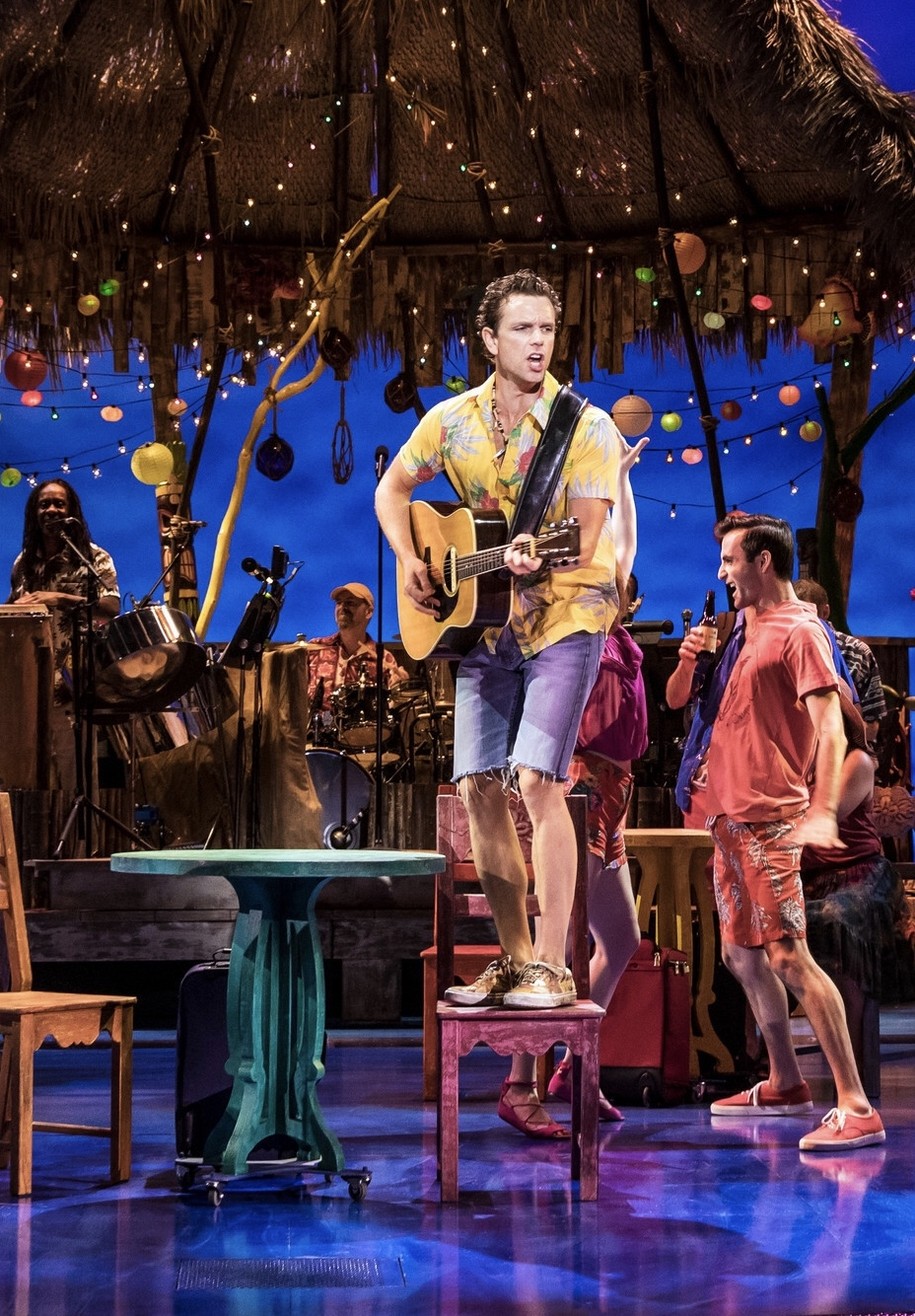 Justin Keats (right) in the pre-Broadway production of  Escape to Margaritaville