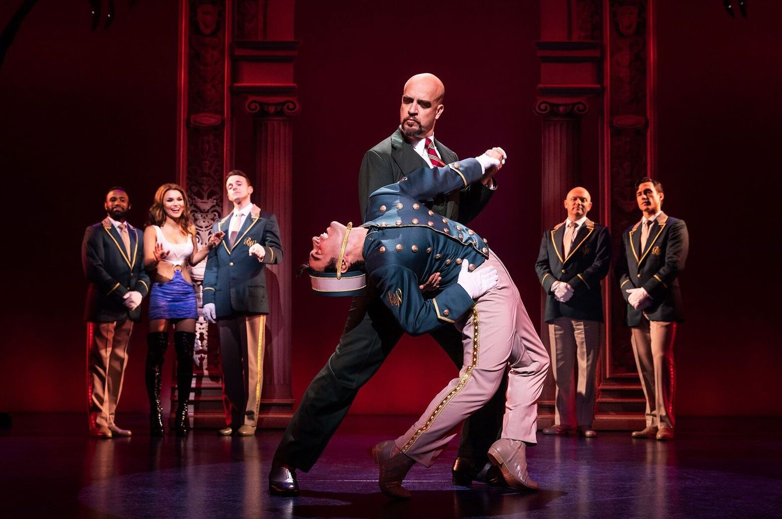 Tommy Bracco (with Eric Anderson and company) in  Pretty Woman: The Musical  (photo: Matthew Murphy)