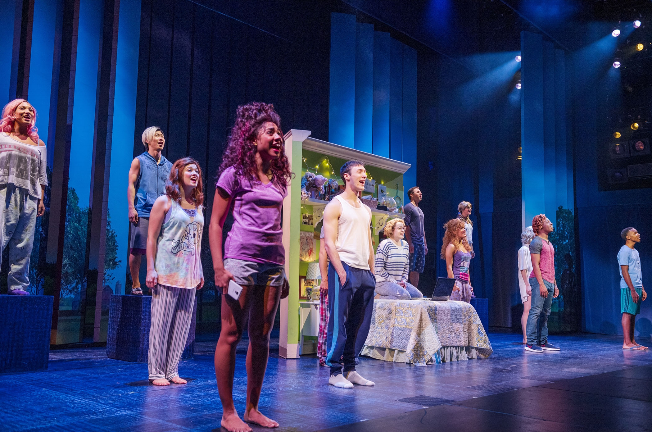 Becca Lee and Teddy Toye (third and fifth from right) and the cast of  The Prom  (Photo by Deen van Meer)