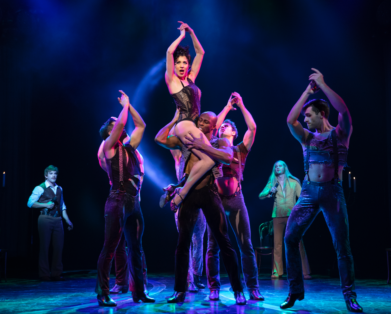Ashley Blair Fitzgerald and the cast of  The Cher Show   (Photo by Joan Marcus)