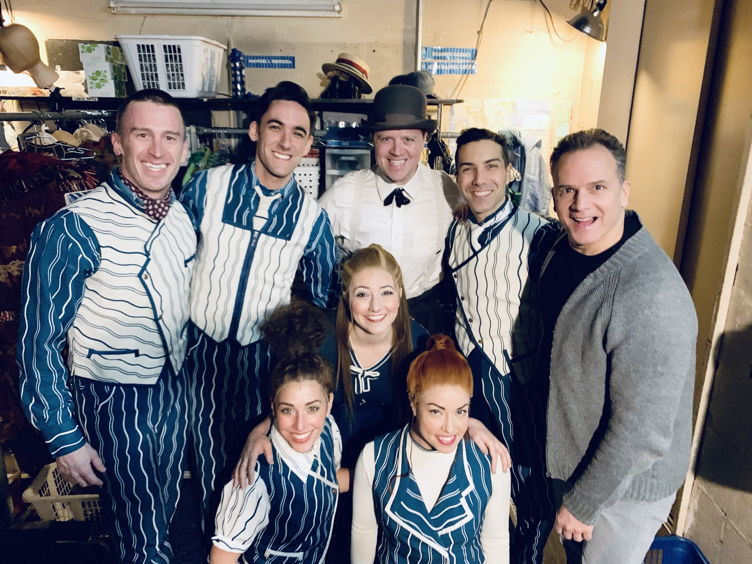 Nicky Venditti (second from right) backstage at  Wicked