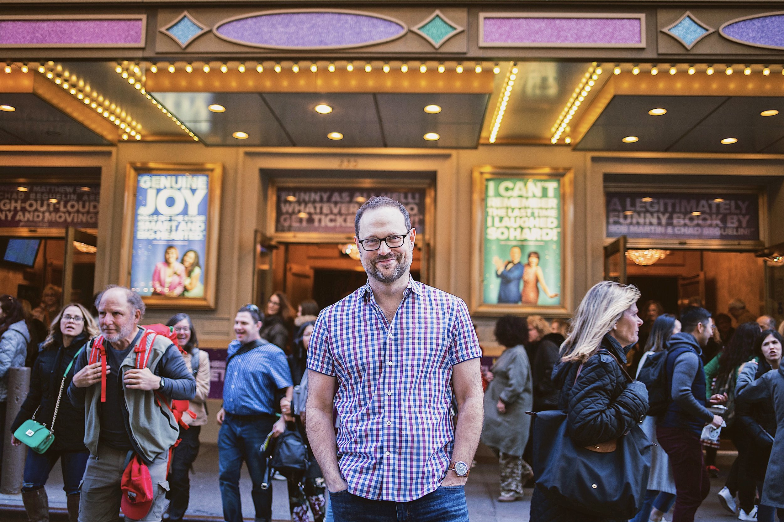 Matthew Sklar in front of Broadway's Longacre Theatre, home of  The Prom