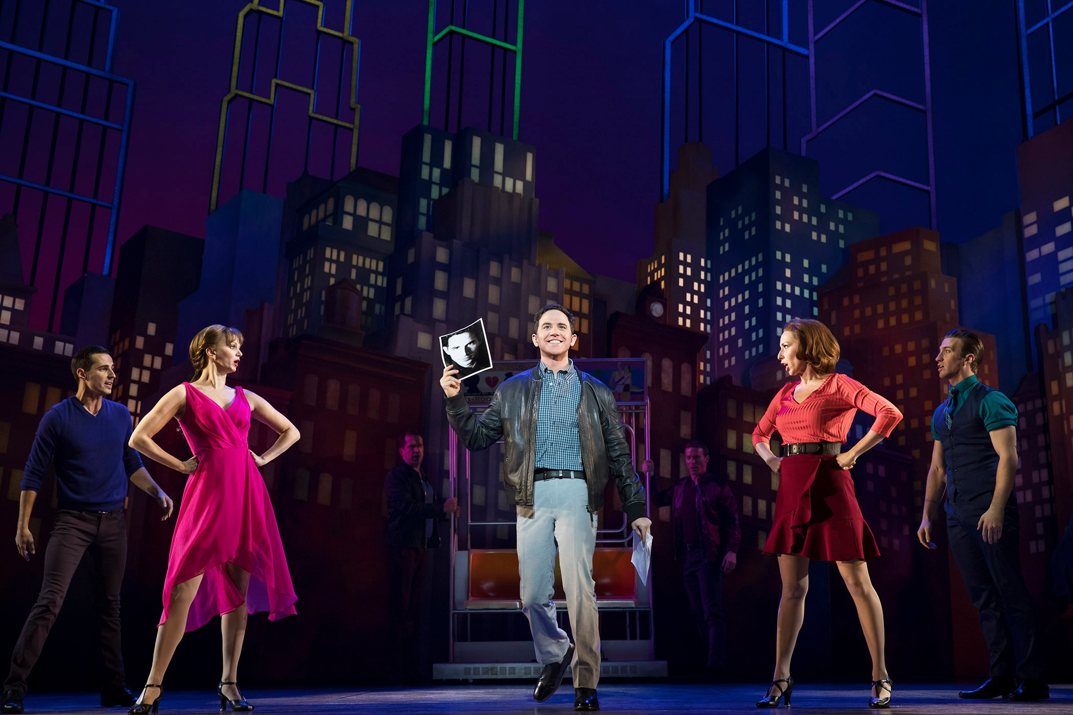 Santino Fontana, Drew King, Leslie Donna Flesner, Sissy Bell, John Arthur Greene in  Tootsie  (Photo by Julieta Cervantes)