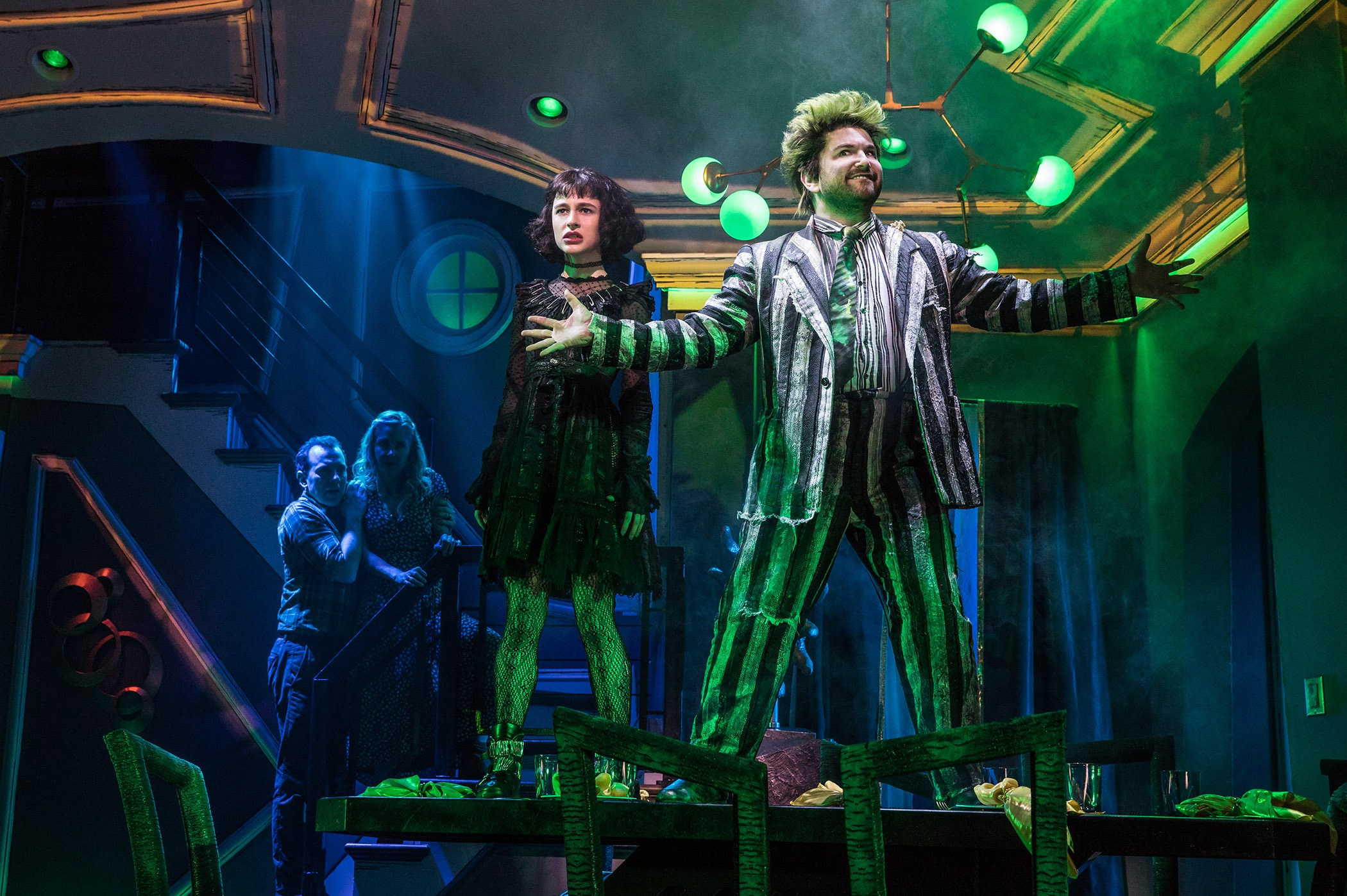 Rob McClure (Adam), Kerry Butler (Barbara), Sophia Anne Caruso (Lydia) and Alex Brightman (Beetlejuice) in  Beetlejuice.  Photo by Matthew Murphy.