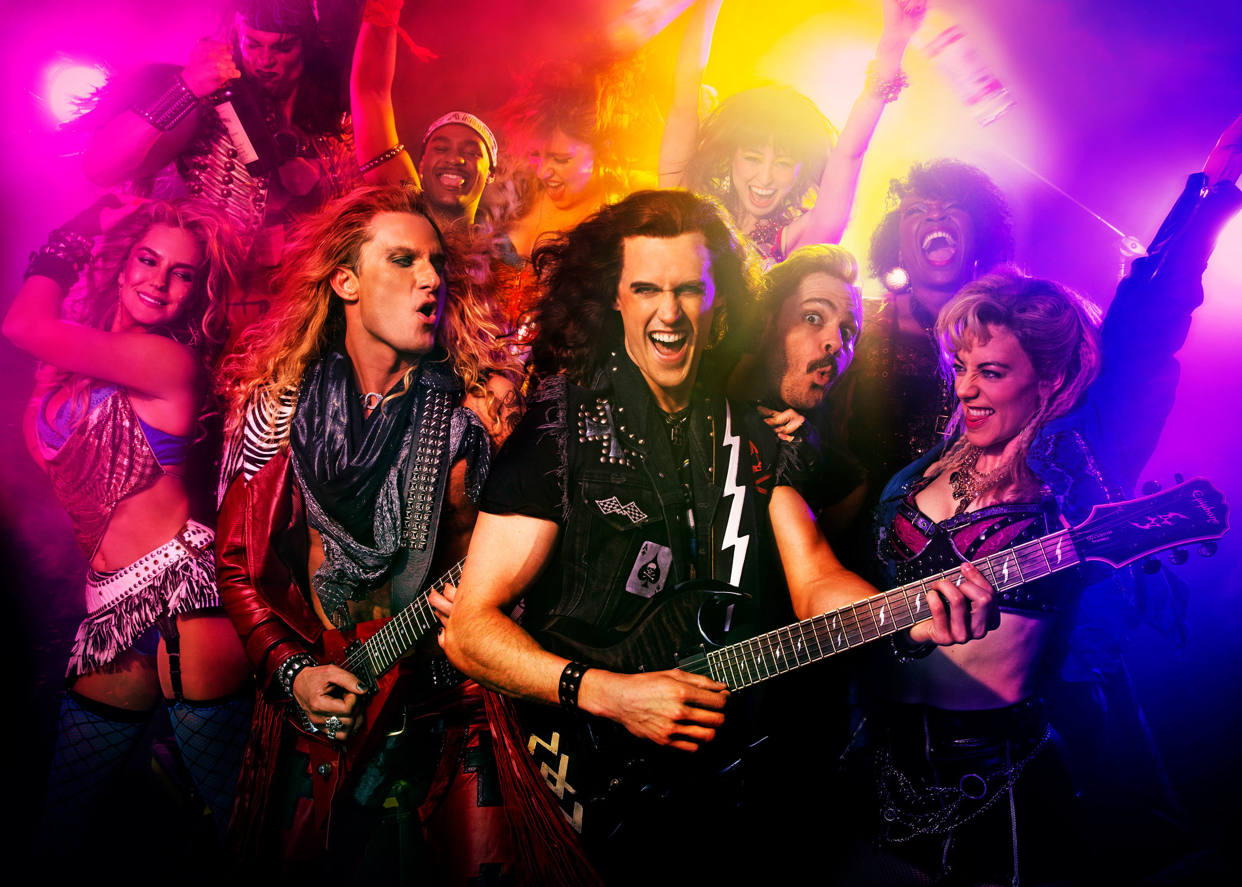 The off-Broadway company of  Rock of Ages  (Photo by Matthew Murphy)