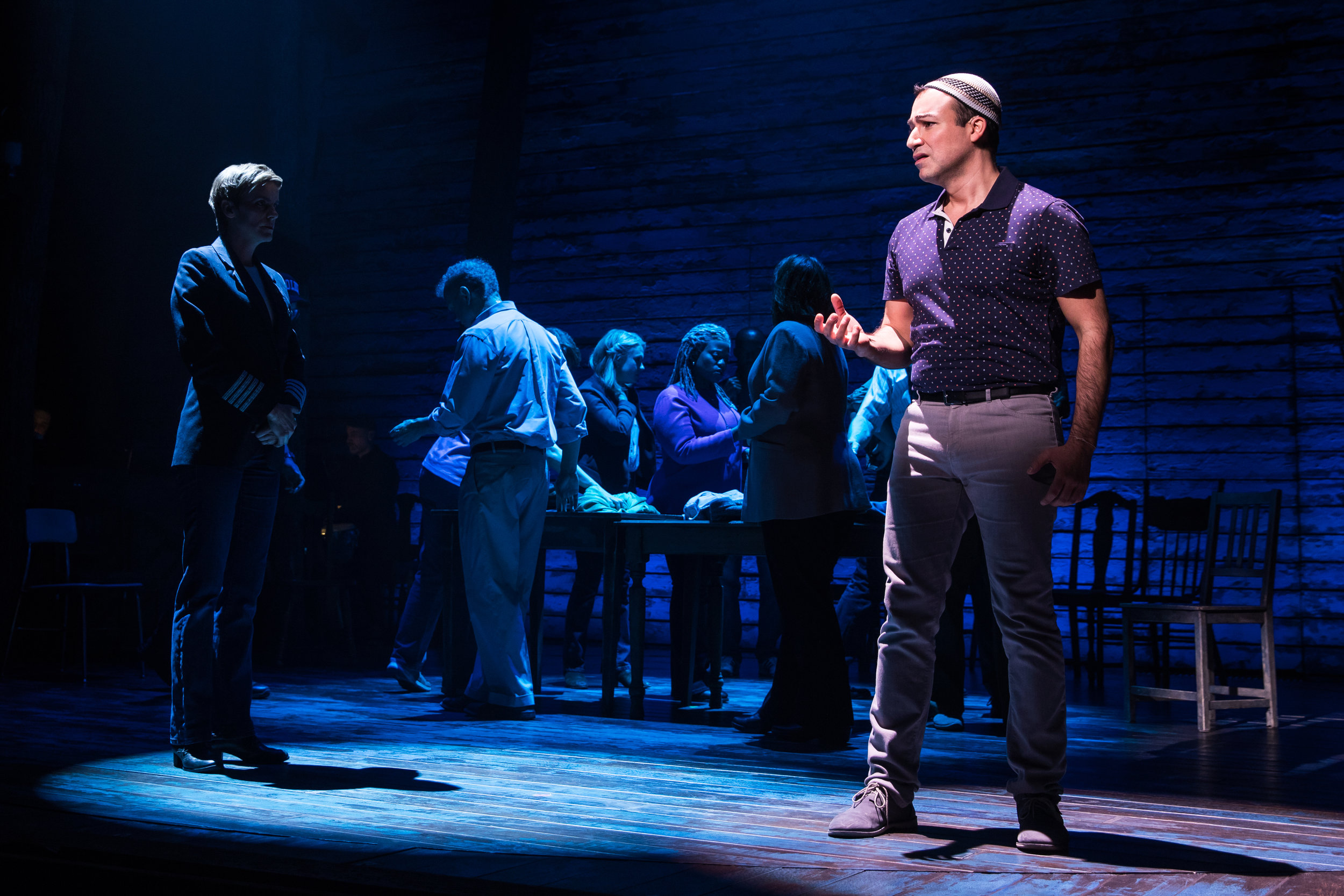Caesar Samayoa and the company of  Come From Away  (Photo by Matthew Murphy)
