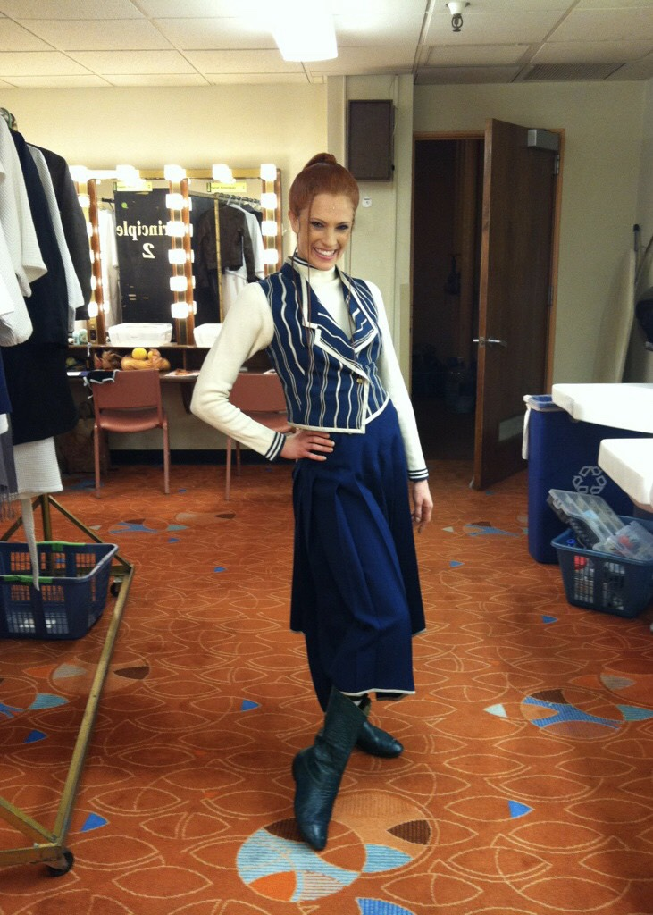 Courtney Iventosch backstage at  Wicked  in 2012