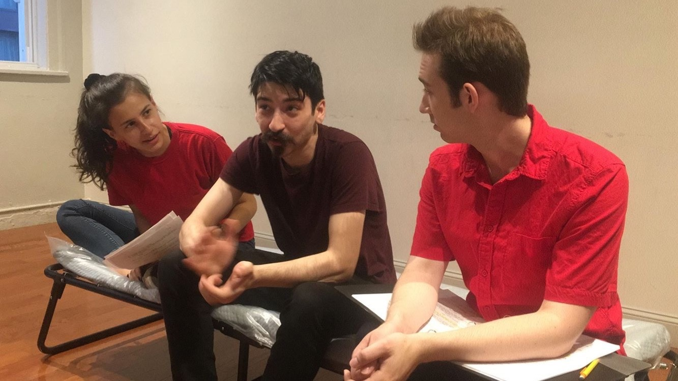 Gevi Dimitrova, Benjamin Romanelli & Jackson Cline in rehearsal for  22