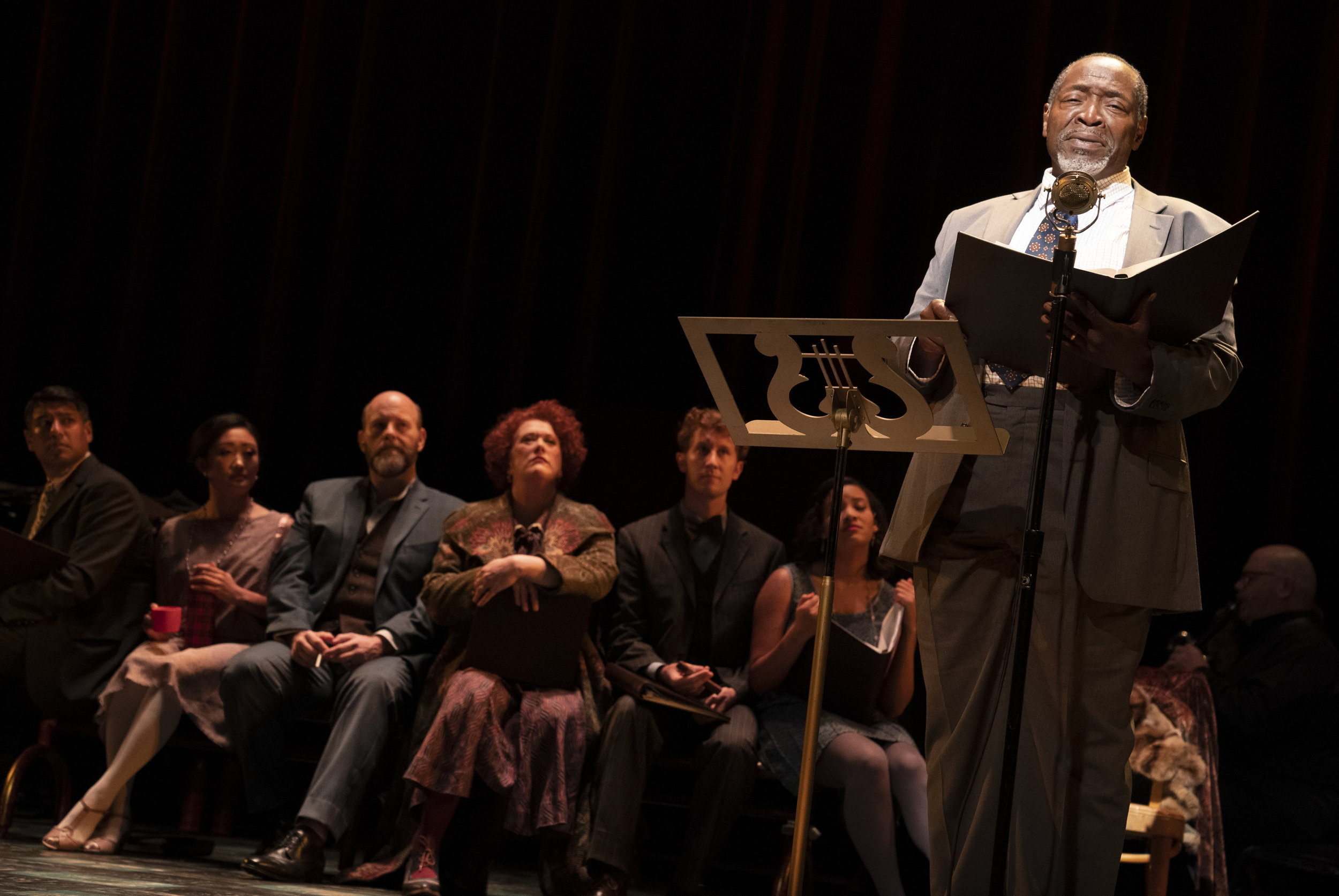 Chuck Cooper and the company of  Road Show  (Photo by Joan Marcus)