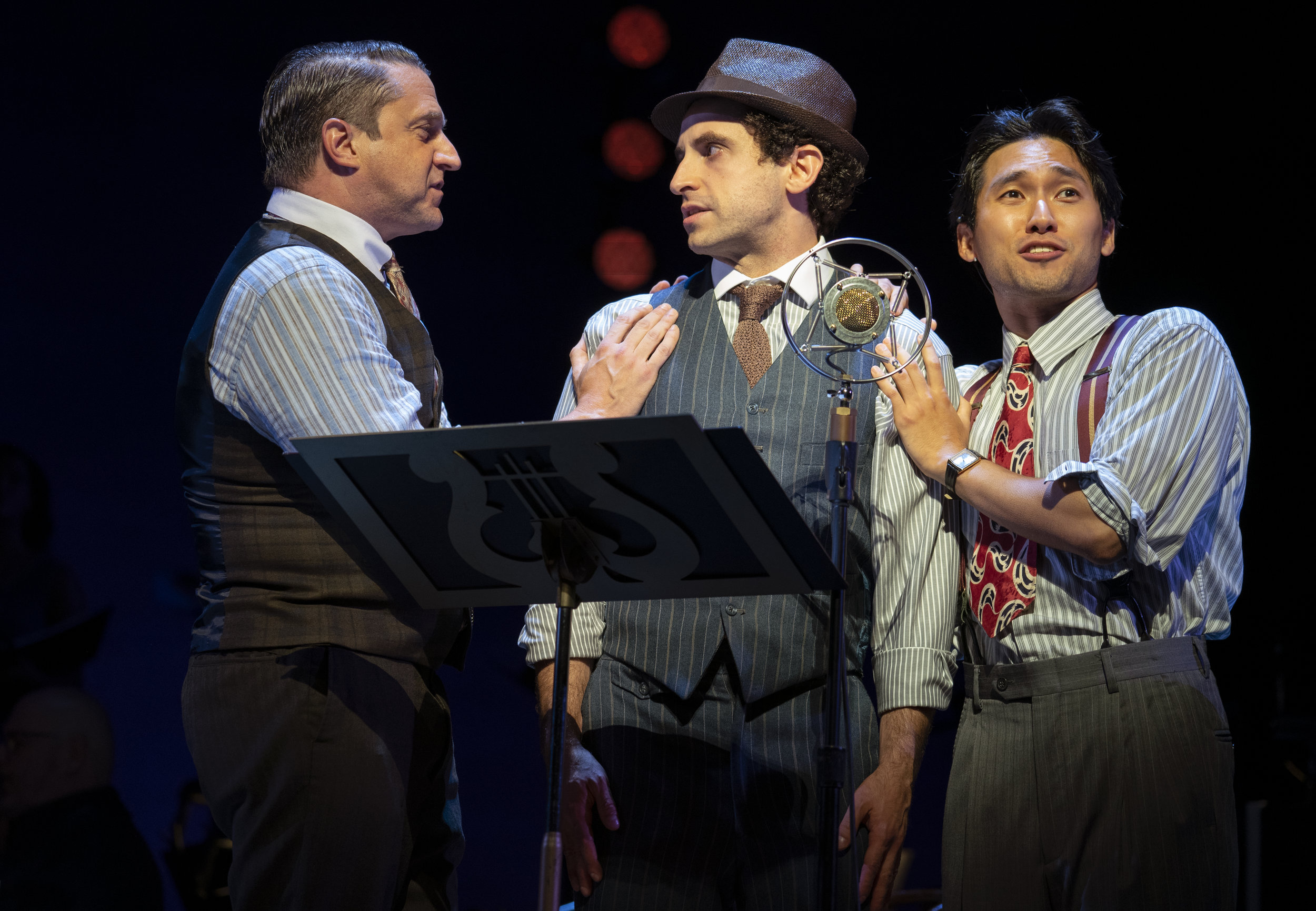 Raul Esparza, Brandon Uranowtiz and Jin Ha in  Road Show  (Photo by Joan Marcus)