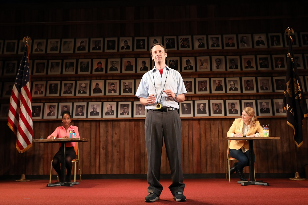Mike Iveson (center, with Thursday Williams and Heidi Schreck) in  What The Constitution Means to Me  (Photo by Joan Marcus)