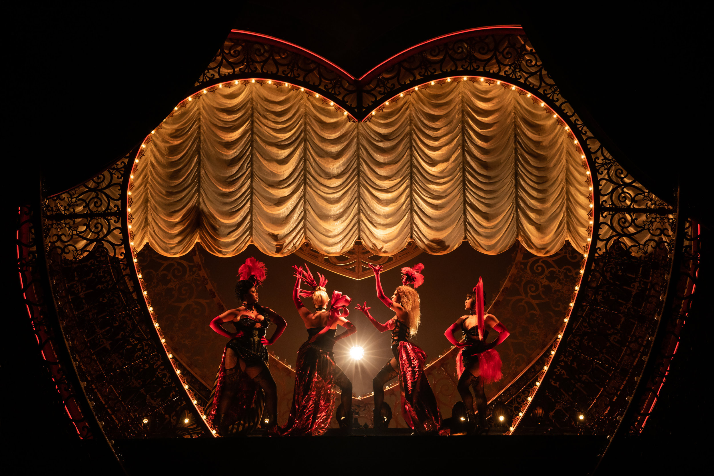 Jacqueline B. Arnold as La Chocolat, Robyn Hurder as Nini, Holly James as Arabia and Jeigh Madjus as Baby Doll in  Moulin Rouge! The Musical  (Photo by Matthew Murphy)